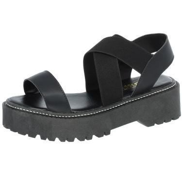 Sandalia Mariha Calçados Papete Plataforma Tratorada Preta  feminino