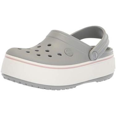 Sandália Crocband Platform Clog, Crocs, Adulto Unissex, Light Grey/Rose, 35