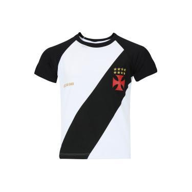 Camiseta do Vasco da Gama Base Raglan - Infantil - BRANCO PRETO Braziline 90d3f5a7eeff2