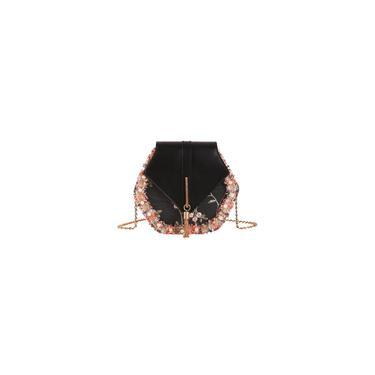 Fada Bolsa Flor Lace Bolsa de Ombro Cadeia Styling Bag Crossbody Bag pu Messenger Bag por Mulheres Meninas Black
