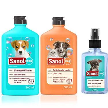 Combo Kit para Banho em Cachorros filhotes: Shampoo, Condicionador e Perfume Baby Filhotes Sanol