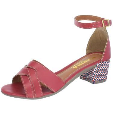 Imagem de Sandalia Mariha Calçados Salto Bloco Trançada Vermelho  feminino