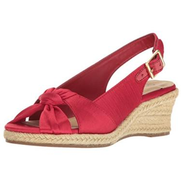 Bella Vita Sandália feminina Seraphina Ii Espadrille Wedge, Red Silk, 7.5 Narrow
