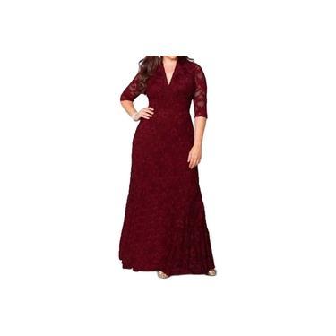 Vestido Longo Renda Plus Size Madrinha Noiva Civil Festa