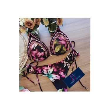 Biquini com Bojo Bordado Violeta Luxo