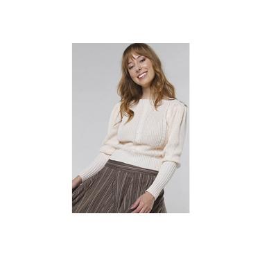 Suéter de Tricot Mangas Bufantes Gola Canoa Sob Off White