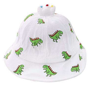 PRETYZOOM Chapéu de sol com estampa de dinossauro, proteção UV, chapéu de pescador de verão, chapéu de praia para bebês ao ar livre (branco) chapéu de verão