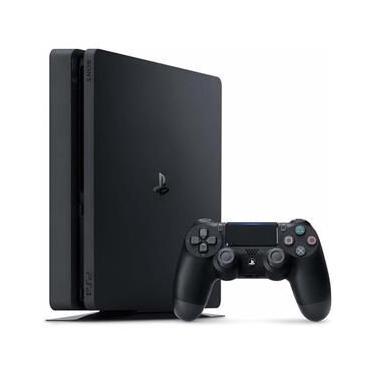 Console Sony PlayStation 4 Slim 1TB Mega Pack 12 com Voucher PS Plus 1 Dualshock 4 - Preto