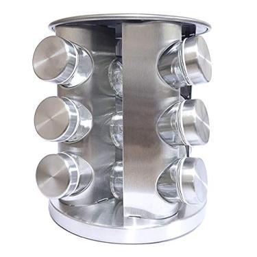 Imagem de Porta Tempero Condimento Aço Inox Giratório 12 Potes