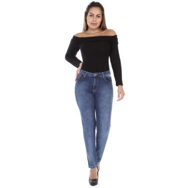 Jeans Boyfriend, Sawary Jeans, Feminino, Indigo, 42
