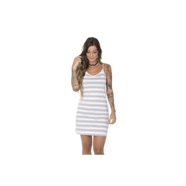 Vestido Feminino Listrado Cinza e Branco