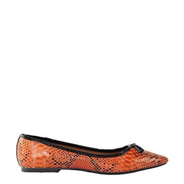 Sapatilha SHEPZ laranja verniz bico fino estampa print animal
