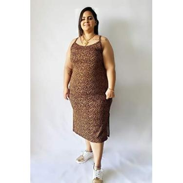 Vestido Pepita Midi Animal Print Plus Size