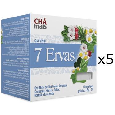 Chá 7 Ervas Kit com 5 Caixas de 10 Sachês cada