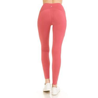 Calça legging feminina de ioga com bolsos laterais premium, Side Pocket Yoga-coral, S