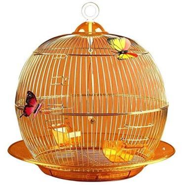 Imagem de GJNVBDZSF Gaiola de pássaro de metal criativo gaiola de pássaro pérola canário ornamental gaiola pássaro casa de pássaro granel