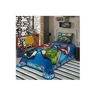 691011fabd Colcha Solteiro Infantil Lepper Marvel Avengers Azul Matelassê