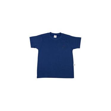 Camiseta Infantil Meia Malha Com Manga Básica - Azul Jeans
