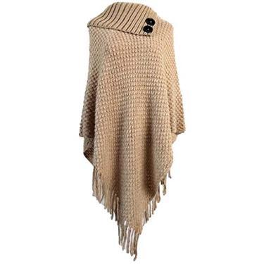 Suéter feminino Fubotevic pulôver poncho capa tartaruga malha gola plus size borla, Caqui, One Size