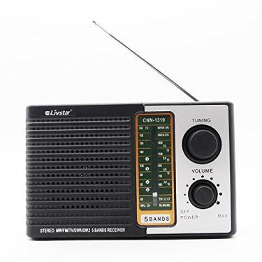 RADIO PORTATIL RETRO COM 5 BANDAS FM SW E TV LIVSTAR COM ENTRADA PARA FONE DE OUVIDO PILHAS E BIVOLT