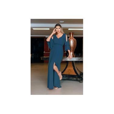 Vestido longo azul petróleo ref. 2542
