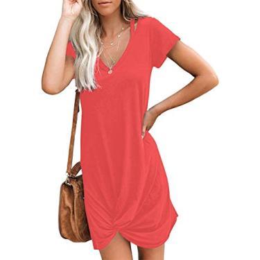 WEKILI Vestido feminino casual de manga comprida gola V nó laço, 01 Coral Red, L