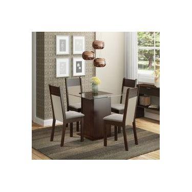 b00e666ca3959 Conjunto Sala de Jantar Mesa e 4 cadeiras Miami Madesa Tabaco Suede Perola