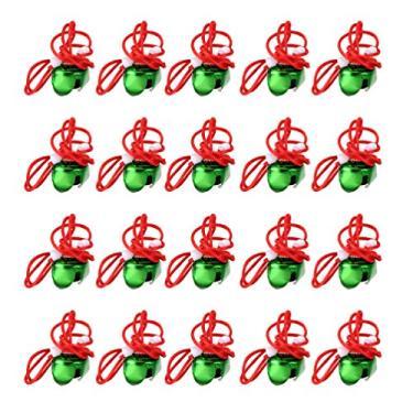NUOBESTY 20 peças de colares de sino de Natal para decoração de pendurar árvore de Natal Natal com pingente de joia de Natal (cor aleatória)