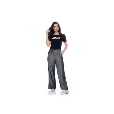 Calça Pantalona em tecido viscose acetinado , MAXMA2675