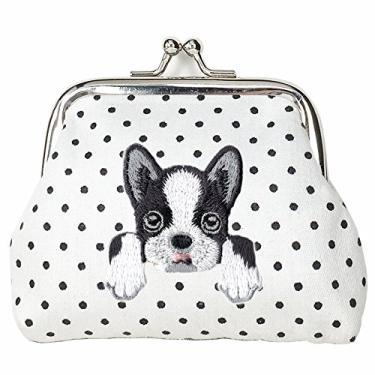 [BOSTON TERRIER] Carteira de moeda com fivela de cachorro bordada fofa, Branco, Small