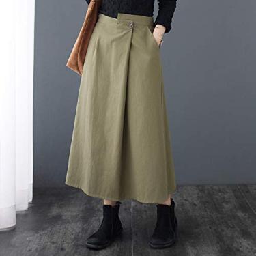 Adaskala Saia feminina vintage com bolsos elásticos altos irregulares na cintura e tamanho casual solto com saia reta