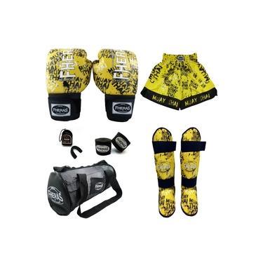 Kit Boxe Top- Luva Bandagem Bucal Caneleira Bolsa e Shorts - GRAFITE