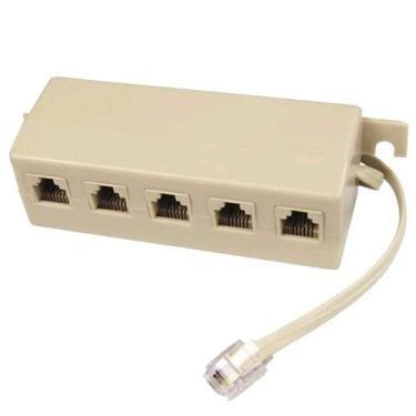 Adaptador Multiplicador P/ Telefone Rj11 5 Fêmeas X 1 Macho 10 Unid