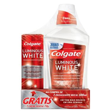 Enxaguante Bucal Colgate Luminous White 500ml - Grátis 1 Creme Dental