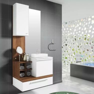 Kit Gabinete Para Banheiro Alteza C/ Espelheira Espelho e Pia Cuba