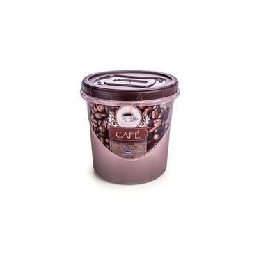 Imagem de Pote Mantimento 1,8 Litros Rosca Decorado Cafe Plasutil