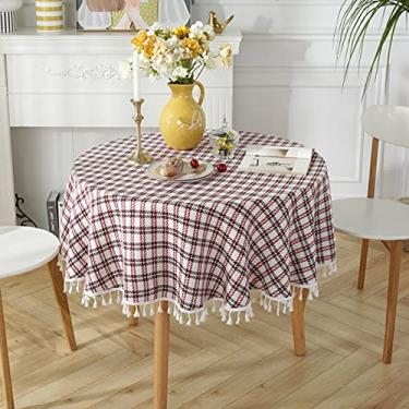 Imagem de jia cool, Toalha de mesa redonda, listrada, algodão, linha, franja, toalha de mesa de sarja nórdica, lavável, decoração de jantar para festas de fim de ano, piquenique (220 cm, redondo, vermelho, preto)