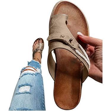 Imagem de AESO Sandálias femininas para o verão, casual, sem cadarço, sapatos para uso ao ar livre, correção, couro, anel, bico casual, suporte de arco e joanete (A-cáqui, 37)