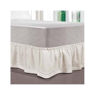 Imagem de Saia para Cama Box Solteiro Kacyumara Palito com Elástico em Poliéster 150 Fios 32 x 88 x 188 cm