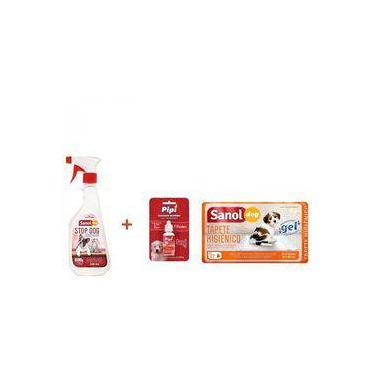 Tapete Higienico Sanol Dog 30 unidades + Educador Sanitário Canino Stop Dog + Atrativo Sanitário CAN