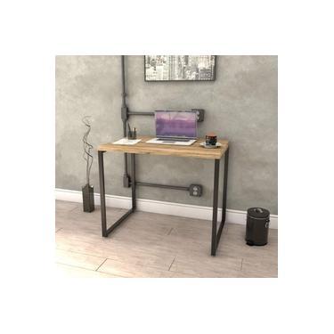 Mesa para Escritório Office Estilo Industrial 90cm Kuadra Compace Carvalho