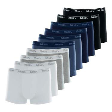 Cuecas boxer Boxer, Mash, Masculino, Branco/Preto/Cinza/Azul, GG