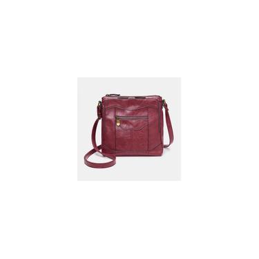 Imagem de Bolsa com vários bolsos para mulheres Brenice pu de couro bolsa sólida, casual, titular de cartão, carteira, cartão de crédito Vinho vermelho Bolsa