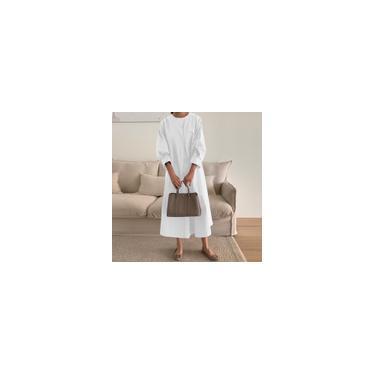 Imagem de Zanzea Moda feminina Vestido Kaftan Gola Tripulada Escritório Feminino Vestuário de Trabalho Cor Sólida Vestido Longo Branco 4XL