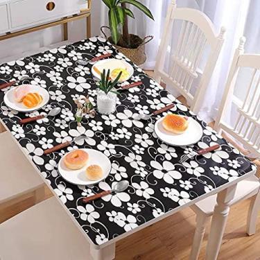 Imagem de Tampa da mesa Retângulo transparente 80x80cm, Toalhas de mesa de plástico transparente para mesas retangulares, Toalha de mesa de vinil com forro de flanela, à prova de óleo, anti-escaldamen