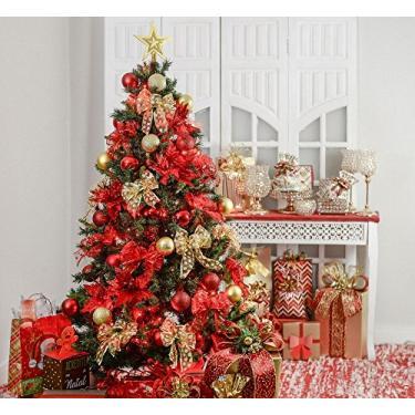 Kit Árvore De Natal Decorada 210Cm C/ 75 Enfeites + Pisca Pisca