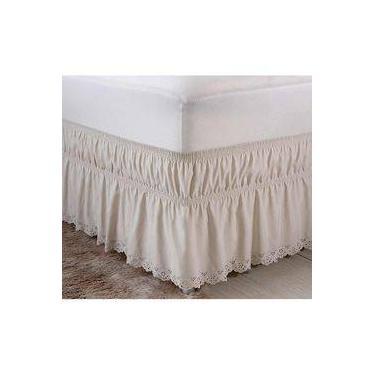 Imagem de Saia Box Para Cama Casal Queen Perola Com Lese Tecido Microfibra - Palha