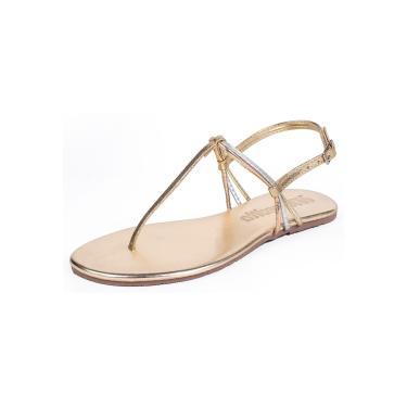 Sandália Rasteira Mercedita Shoes Metalizada Dourada Tiras Prata Bronze Ultra Conforto  feminino