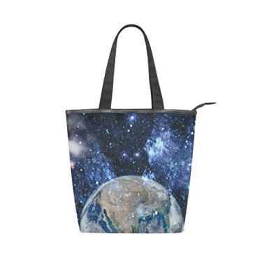 Bolsa feminina de lona durável, espaço sideral terra, grande capacidade, sacola de compras