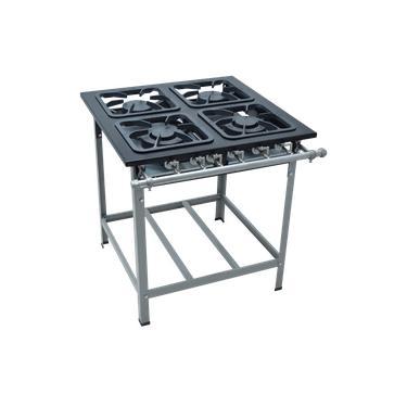 Fogao Industrial 4 Bocas M-14 M/m S2000 30X30 Perfil 6,5Cm Com Porta Panela - Metalmaq